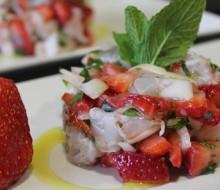 Receta tartar de gambas y fresas